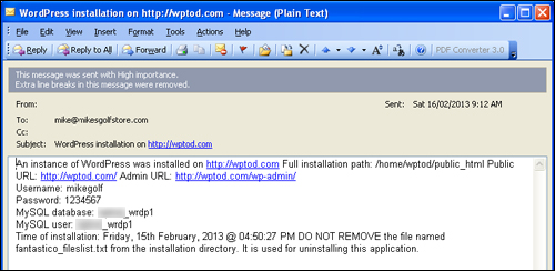 WordPress Installation Email